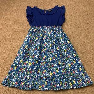 Chaps Mixed Media Lined Summer Dress Elastic Waist